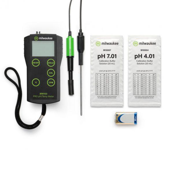 MW102-FOOD hordozható pH / Hőmérséklet mérő élelmiszeripari felhasználásra