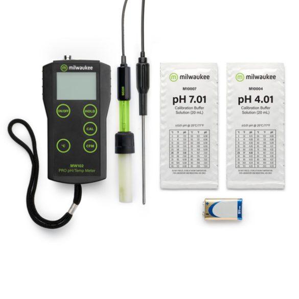 MW102 PRO+ hordozható pH / Hőmérséklet mérő